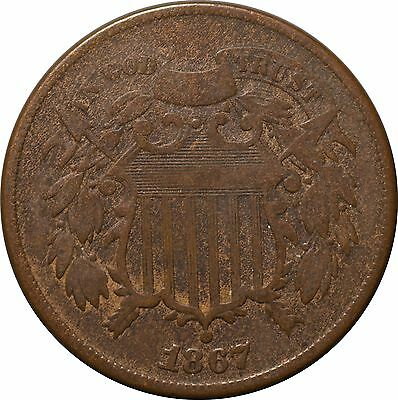 1867 Two Cent Shield Piece F - NO RESERVE!!!