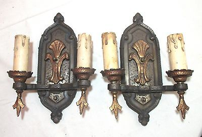 pair of high quality antique bronzed gilt cast iron electric wall sconce fixture