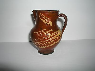 Antique Glazed Slipware Dutch Pennsylvania Redware Pitcher 1840's AAFA