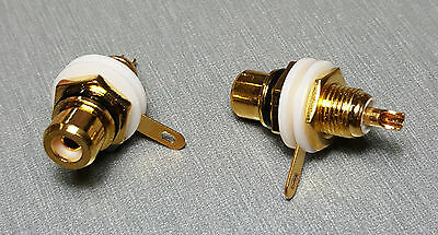 Black Female RCA Gold Plated Panel Mount Socket Pack of 2
