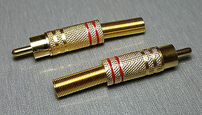 Red male RCA Gold Plated Plug with Strain Relief Pack of 2