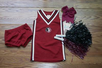 Florida State Seminoles Cheerleader Costume Outfit Halloween Set Pom Poms 4T