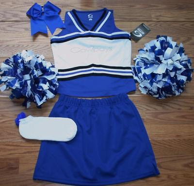 Cowboys Cheerleader Costume Outfit Cheer Set Pom Poms Bow Uniform 12-14 Kids L