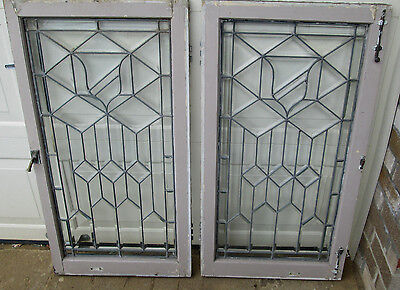 ANTIQUE Clear Leaded Glass Windows Matched Pair Beveled Glass