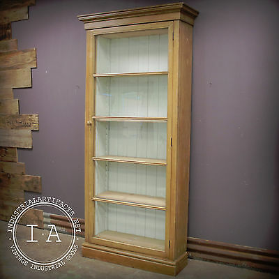 Early Handmade Glass Front Primitive Farmhouse Storage Cabinet