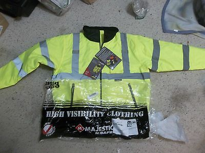 Majestic Glove 75-1300 PU Coated Polyester High Visibility Bomber Jacket .NEW