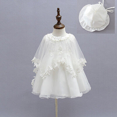 Elegant Lace Baptism Dress Beaded Christening Gown Embroidery Dress with Cloak