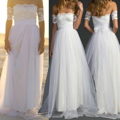 White Lace Bridal Ball Gown Tulle Beach Wedding Dress Elegant Off Shoulder S-XL