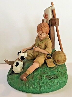 """1982 Norman Rockwell Boy Scouts THE HERO-WORSHIPPER - Limited Edition 6.75"""""""