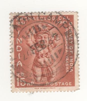 1961 INDIA 15 n.p. Brown Centenary of Indian Archaeological Survey CIRC. CANCEL