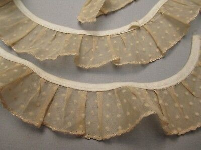 Antique lace Dotted Swiss organdy pleated trim