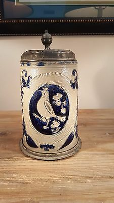 Rarely seen mid to late 1700s German Westerwald stoneware stein with pewter lid