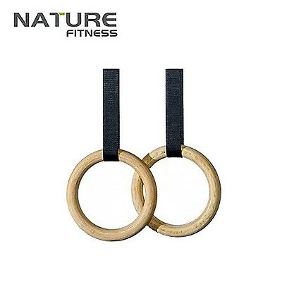 Wooden Olympic Gymnastic Ring Gym ring fitness Training Exercise Straps