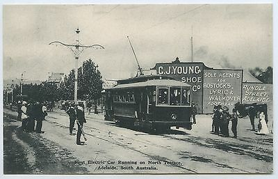 1908 Pt Npu Postcard First Electric Tram Nth Tce Adelaide Donald Taylor Publ M27