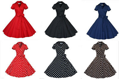 Womens Bow Belt Vintage Style 1950s Rockabilly Audrey Party Swing Skater Dress