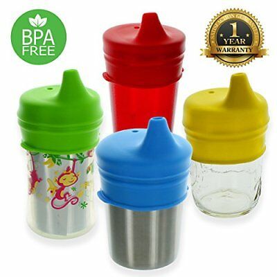 Healthy Sprouts Silicone Sippy Lids 4 Pack – USA Safety Tested Spill Proof BP...
