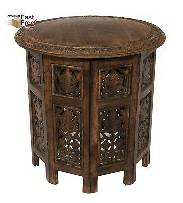 "Antique Brown Jaipur Solid Wood Hand Carved Coffee Accent End Table, 18"" Round"