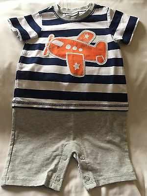 First Impressions Boy's Striped Airplane Romper 18 Months NWOT