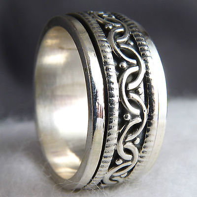 Narrow Oxidized Filigree SPINNER US 7.5 SilverSari Fidget RING Solid 925 Silver