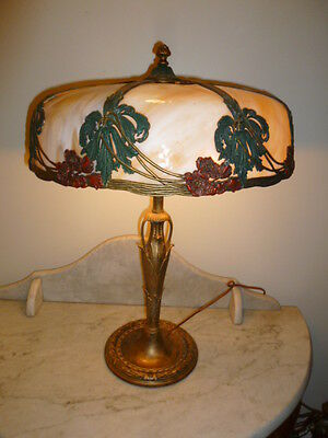 Large Art Nouveau polychrome bronze Stained Slag Glass Lamp circa 1900