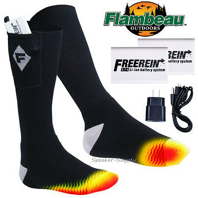 LARGE Flambeau Heated Socks Lithium Ion Rechargeable Foot Warmer Hunting F250-L
