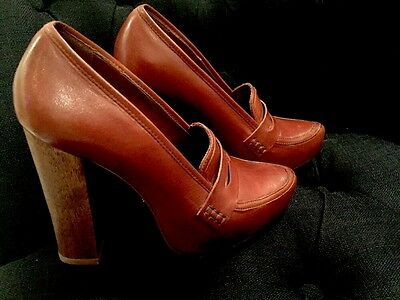 Designer Schultz Brown Leather Shoes Size 39 Only Worn Once RRP$470