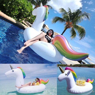 Giant Inflatable Unicorn Water Float Raft Summer Sea Swim Pool Lounger Beach DIY