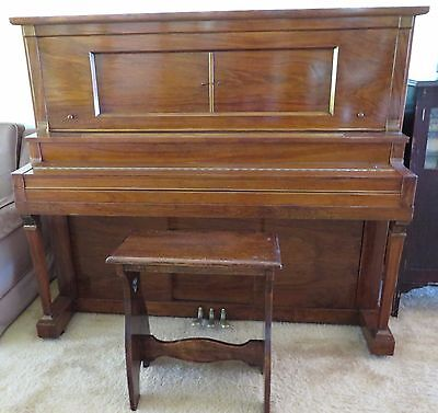 Schubert Player Piano [Pianola], Stool, Antique Roll Cabinet, Rolls