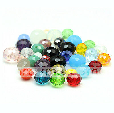 100/500pcsMixed Colour Synthetic Crystal Gemstone Round Flat Loose Beads