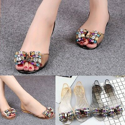 Fashion Women Summer Jelly Sandals Bling Bowtie Peep Toe Shoes Flats Sandals