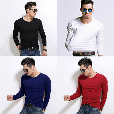 New Men's V Neck Tops Tee Shirt Slim Fit Long Sleeve Solid Color Casual T-shirts