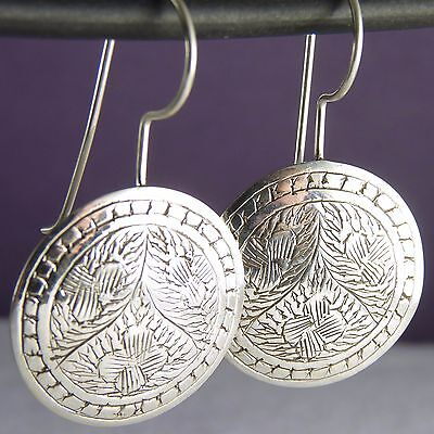 ROUND Traditional Carved SilverSari Hooks Earrings Solid 925 Sterling Silver