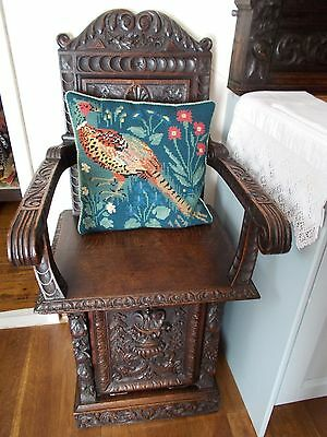 Vintage Hand Crafted Tapestry Cushion Depicting A Pheasant~With Feather Pad