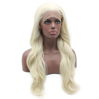 Long Wavy Light Blonde Glueless Lace Front Wig Heat Resistant