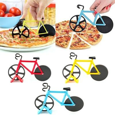 Bicycle Pizza Cutter Dual Slicer Stainless Steel Bike Chopper Kitchen Knife Tool