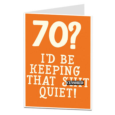 70th Birthday Card 70 Today Funny For Him Her Best Friend Brother Sister
