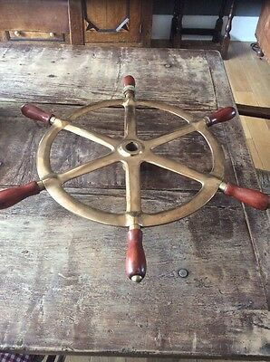 Antique Vintage Bronze Ships Wheel Boat Yacht Sailing Brass Original