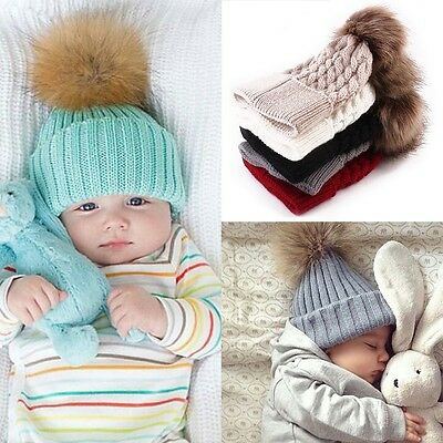 Newborn Baby Girl Boy Fur Pom Bobble Cap Winter Knit Crochet Hairball Beanie Hat