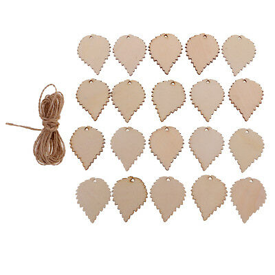 20pcs Wooden Tags Leaf Shaped Wood Cutout Hanging Embellishments Decoration