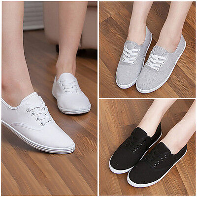 Classic Canvas Women's Lace Up Casual Sneakers Tennis Flats Ladies Sports Shoes
