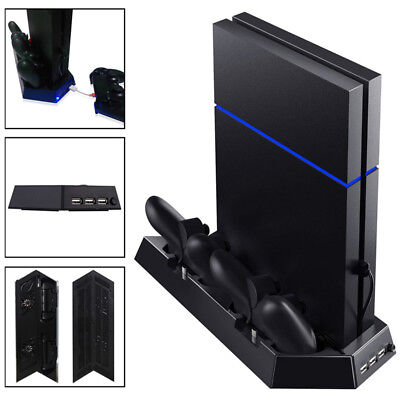 Vertical Stand Cooling Fan + 2 Controller Charging Dock for Sony Playstation PS4