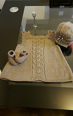 Hand knitted baby dress set - baby knits