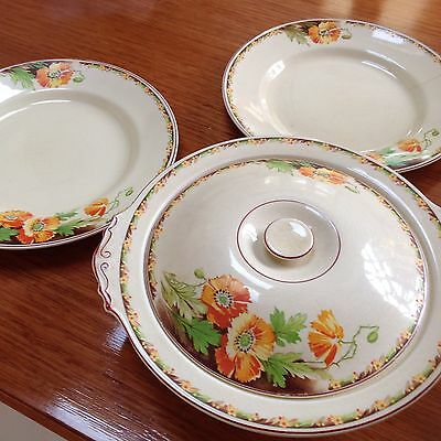 Antique CORONATION WARE In England Fine China, Soup Tureen And 2 Dinner Plates