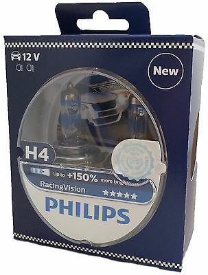 H4 PHILIPS Racing Vision +150% 12V 60/55W P43t  2st 12342RVS2 EAN 8719018000200