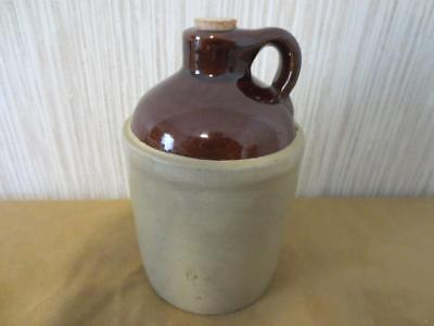Antique Little Brown Jug with Cork U.S.A. Tan Brown 6""