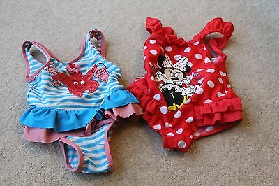 2 X Girls Swimsuits Swimming Costumes - Minnie Mouse - Star Fish - 3-6 Months