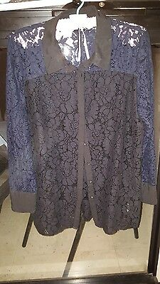 Blue Illusion Ink Blue And Black Lace Shirt