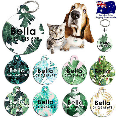 Metal Steel Personalized Pet cat dog Tag Custom ring Name Tags Palm Leaves leaf