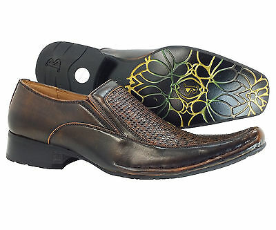 Men's Dress Shoes Brown Slip on Majestic Style Leather Lining Italian Loafers
