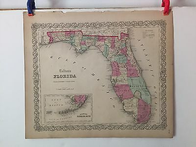 Antique J.B. Colton Map of Florida